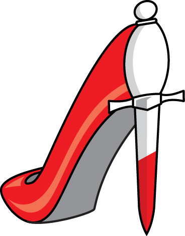 Scarlet stiletto shoe featuring dagger heel