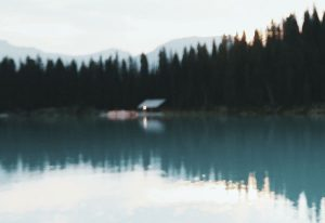 Scandinavian scenic shot, soft focus, foreground lake with reflection of tall pine trees and mountain in background, cabin on edge of like with external light