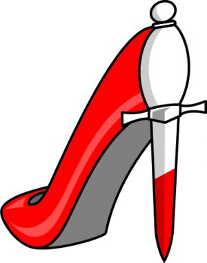 Illustration of a scarlet stiletto shoe with dagger heel
