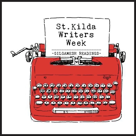 St Kilda Writers Week logo with red typewriter, stkildawritersweek.com