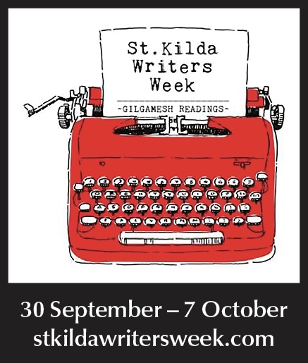 St Kilda Writers Week logo with red typewriter. 30 September - 7 October. stkildawritersweek.com