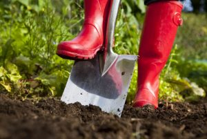 person wearing red wellies digging ground with a spade