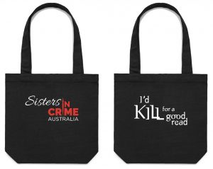 Tote bag with logo on one side and I'd kill for a good read on the other